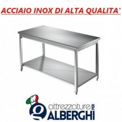 Tavolo acciaio inox con ripiano inferiore – senza alzatina – Dim. cm. 200x70x85H • LINEA ECO