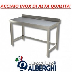 Tavolo acciaio inox senza ripiano inferiore – con alzatina – Dim. cm. 190x70x85H • LINEA ECO