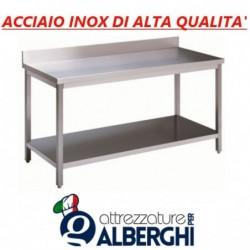 Tavolo acciaio inox con ripiano inferiore – con alzatina – Dim. cm. 70x70x85H • LINEA ECO