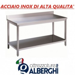 Tavolo acciaio inox con ripiano inferiore – con alzatina – Dim. cm. 160x70x85H • LINEA ECO