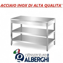 Tavolo acciaio inox con 2 ripiani – senza alzatina – Dim. cm. 110x70x85H • LINEA ECO
