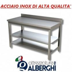 Tavolo acciaio inox con 2 ripiani – con alzatina – Dim. cm. 130x70x85H • LINEA ECO