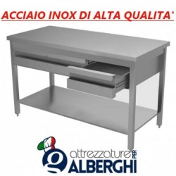 Tavolo in acciaio inox con ripiano + cassettiera con 3 cassetti – Dim. cm. 150x70x85H • LINEA ECO