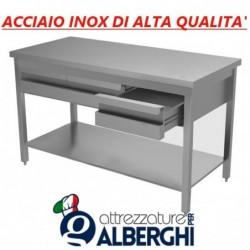 Tavolo in acciaio inox con ripiano + cassettiera con 4 cassetti – Dim. cm. 180x70x85H • LINEA ECO
