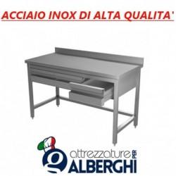 Tavolo in acciaio inox su gambe + alzatina + cassettiera con 3 cassetti – Dim. cm. 150x70x85H  • LINEA ECO