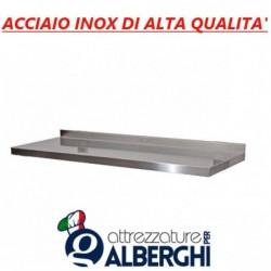 Mensola ripiano liscio scatolato parete supporto cremagliera acciaio inox dimensioni 100×30 cm