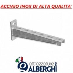 Supporto singolo regolabile per Mensola ripiano parete cremagliera acciaio inox Prof. 30 cm