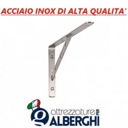 Supporto singolo rinforzato per Mensola ripiano parete cremagliera acciaio inox Prof 40