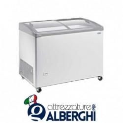 Congelatore conservatore orizzontale vetri curvi dimensioni -18/-25°C dimensioni 1070 x 677 x 910 mm