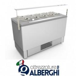Vetrina banco gelato in acciaio inox refrigerato cap. 6+6 (sovrapponibili)  carapine da 7 Lt temp -5°/-20°C