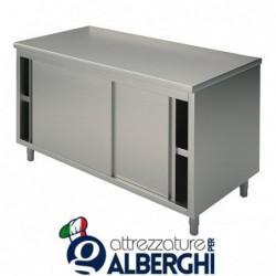 Tavolo armadiato chiuso in acciaio inox con ante scorrevoli – senza alzatina – Dim.cm 130x60x85h