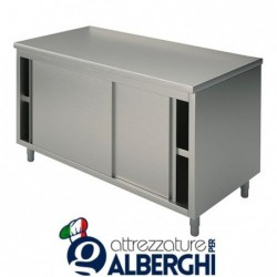 Tavolo armadiato chiuso in acciaio inox con ante scorrevoli – senza alzatina – Dim.cm 150x60x85h