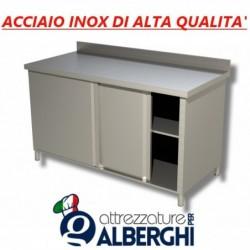 Tavolo armadiato chiuso in acciaio inox con ante scorrevoli – con alzatina – Dim.cm 180x60x85/90h