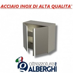Pensile chiuso in acciaio inox con anta a battente – Ripiano intermedio – Dim.cm 50x40x65h