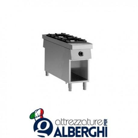 Cucina a gas 2 fuochi passante su base aperta 40X100x85H 14 Kw  10PCFLG2A professionale