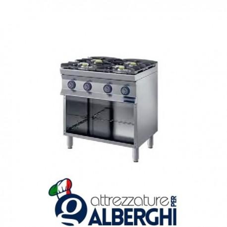 Cucina a gas 4 fuochi su base aperta 80X90x85H 22,4 Kw  9CFLG4A professionale