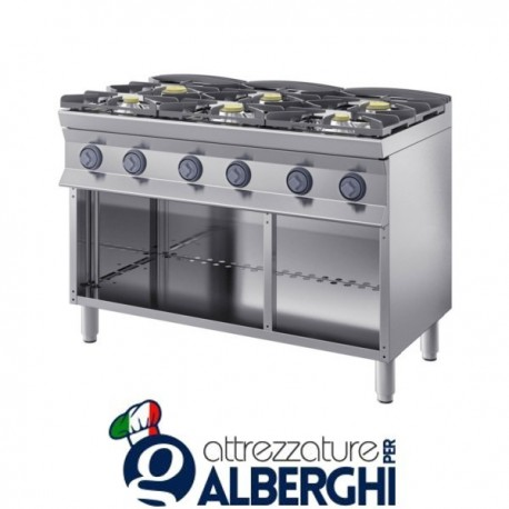 Cucina a gas 6 fuochi su base aperta. 120X70x85H 38,8 Kw – 7CFLG6PA