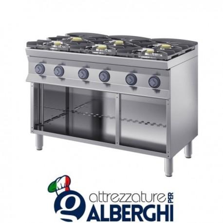 Cucina a gas 6 fuochi su base aperta 120X90x85H 40,8 Kw  9CFLG6PA professionale
