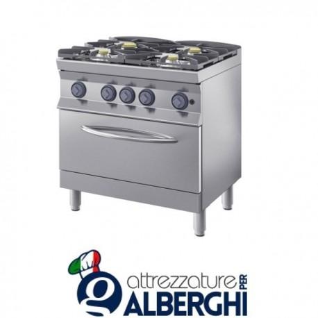Cucina a gas 4 fuochi su forno GN2/1 80X70x85H 26,4 Kw  7CFLG4FGP professionale