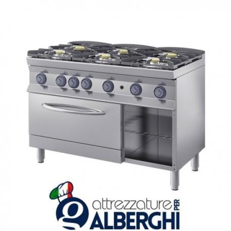 Cucina a gas 6 fuochi su forno GN 2/1 120X70x85H 25,2 Kw  7CFLG6FGD