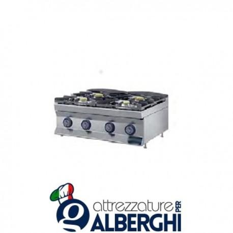Cucina a gas 4 fuochi top 80X70x28h 22,4 Kw  7TFLG4